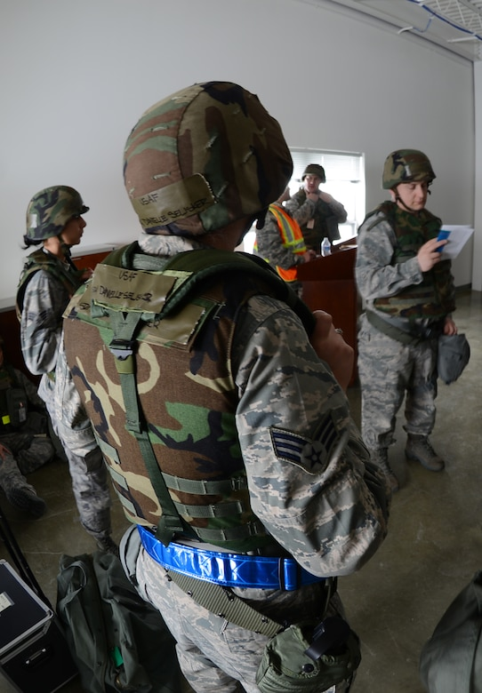 Maj. Steve Lee, 477th Force Support Squadron commander, takes accountability of his Airmen during Polar Force 13-3.  Polar Force is an operational readiness exercise designed to test the unit's ability to deploy. (U.S. Air Force Reserve photo/ Tech. Sgt. Dana Rosso)