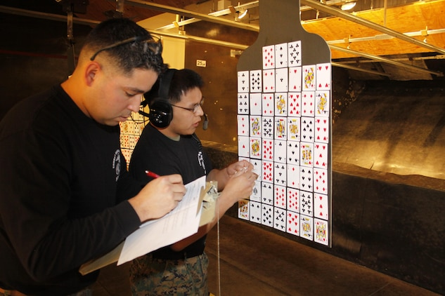 Cpl. Luis Lozano (left), Indoor Small Arms Range operations chief, and Sgt. Ricky Johnson (right), ISAR operations chief, record the cards shot on the targets at the Top-Shot Shootout pistol-poker held at ISAR here, Feb. 22, 2013. The ISAR held a similar contest last year for officers using rifles.