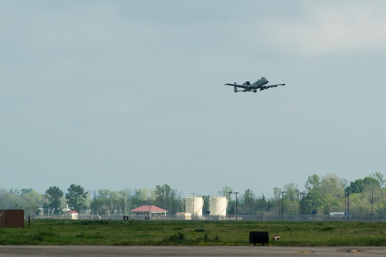 A 917th Fighter Group A-10 Thunderbolt II takes off for the last time from Barksdale Air Force Base, La., April 8, 2013. The FG is scheduled to be inactivated by Sept. 30, 2013, with the first three A-10s departing Barksdale. (U.S. Air Force photo by Master Sgt. Greg Steele/Released)