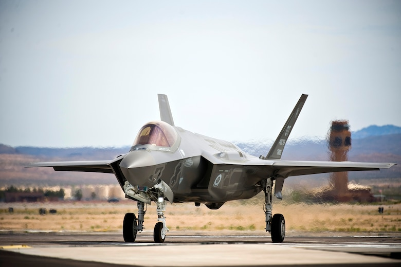 A U.S. Air Force F-35A Lightning II assigned to the 422nd Test and Evaluation Squadron taxis down the runway before a training mission April 4, 2013, at Nellis Air Force Base, Nev. The 422nd TES will design the tactics for the F-35A. The squadron will also determine how to integrate the F-35A with other aircraft in the Air Force inventory. (U.S. Air Force photo/Senior Airman Brett Clashman)