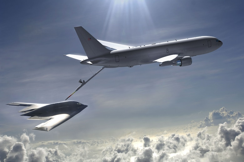 A KC-46 conducts in-flight refueling on a B-2 bomber in this illustration.  The first KC-46 is expected to fly in 2015.  (Air Force illustration)