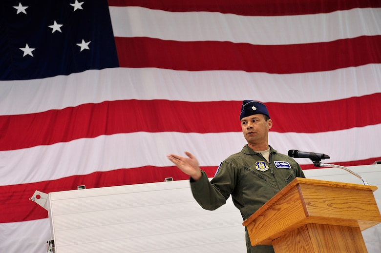 LAS VEGAS, Nev. – After assuming command, Lt. Col. Joseph addresses the audience during the 91st Attack Squadron activation ceremony April 5, 2013.  The squadron flies MQ-1B Predator and MQ-9 Reaper remotely piloted aircraft and continuously operates around the globe in support of national strategy. (U.S. Air Force photo by Senior Master Sgt. P.H.)