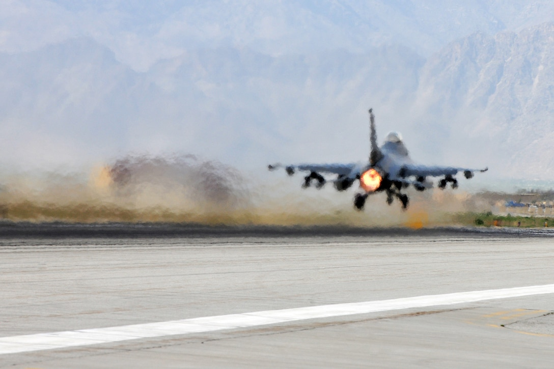An Air Force F-16 Fighting Falcon deployed Shaw Air Force Base, S.C., takes off from Bagram Airfield, Afghanistan, Apr. 6, 2013. The mission of the F-16 here is to provide tactical air-to-air and air-to-ground support for Operation Enduring Freedom.  (U.S. Air Force photo/Senior Airman Chris Willis)