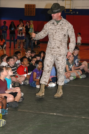 In conjunction with Month of the Military Child, Marine Corps Logistics Base Albany officials hosted a Little Leatherneck Boot Camp at the Thomason Gym, April 2. This event gave children, ages 5-13, an opportunity to participate in military-like activities and feel like a Marine for the day.