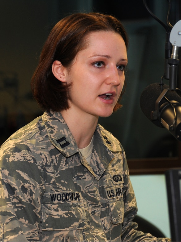Capt. Tenille Woodward, 39th Air Base Wing Sexual Assault Response Coordinator, speaks on AFN Incirlik radio about sexual assault and causes and effects it has on a person and the mission. Sexual assault is a zero-tolerance issue in the Air Force and the SARC help combat these issues by raising awareness of this assault. (U.S. Air Force photo by Staff Sgt. Eric Summers Jr.)