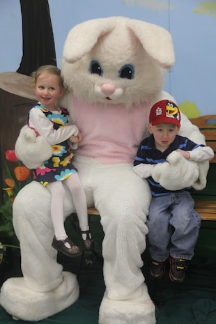 Alyssa and Aaron Burton, 3-year-old twin siblings, had thier picture taken with the Easter Bunny, March 23. Taking photos with the Easter Bunny was one of the many highlighted activities offered to the children during the Eggstravaganza.