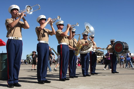 Members from the 3rd Marine Aircraft Wing Band perform for the public at the 2012 Marine Corps Air Station Miramar Air Show, Oct. 14. The members played many show tunes for the public to enjoy.