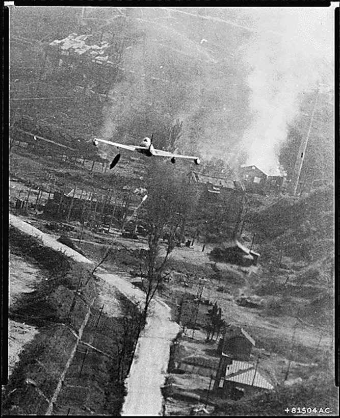 An Air Force F-80 Shooting Star fighter-bomber involved in an air strike over Suan, North Korea, in the largest air strike of the Korean Conflict on May 8, 1952 (Courtesy of the National Archives and Records Administration)