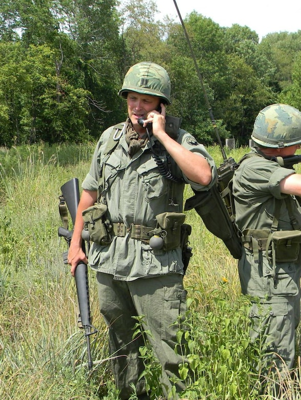 Master Sgt. Brett King, 207th Weather Flight, displays U.S. Infantry Officer uniform (Vietnam).
