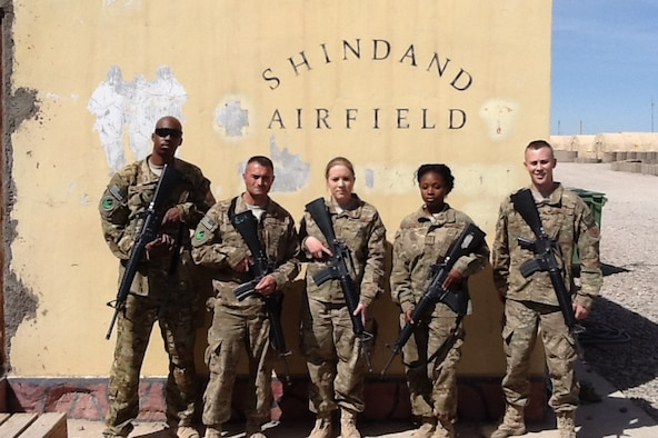 From left to right, Senior Airman Walter Morton, Tech Sgt. Ignacio Bentancour, Senior Airman Amber Jones, Staff Sgt. Lakisha Leak and Airman 1st Class Joseph Wallock, 386th Expeditionary Logistics Readiness Squadron forward deployed from the 386th Air Expeditionary Wing to Shindand, Afghanistan Mar 31, 2013. The team of five built two 3,000 square foot Alaskan tents and set-up an entire supply system from the ground up in only 45 days. (Courtesy photo)