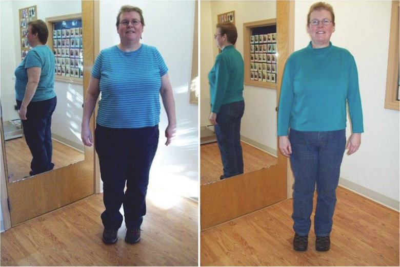 Christine Morgan, cost estimator technician in the Cost Engineering Branch of the Alaska District, poses before and after her weight loss. Morgan lost 70 pounds in a six-month period after first learning to cross-country ski in the winter season of 2011.