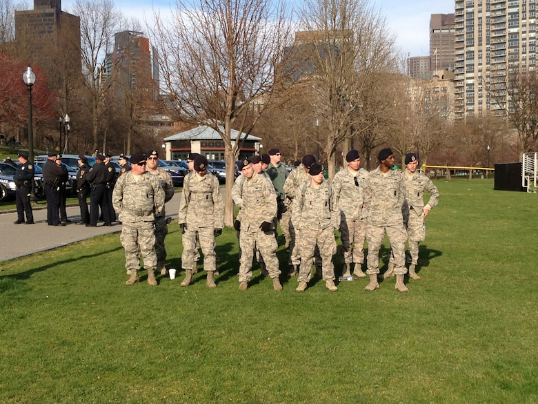 U.S. Airmen with the Massachusetts National Guard muster at Boston Common to receive orders for a coordinated response, in support of civilian authorities in the wake of the marathon bombings in Boston, Mass., April 15 2013. (U.S. Army photo by 2nd Lt. Matthew Feehan/Released)