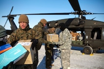 Brig. Gen. Roger R. Machut, the commanding general of 4th Marine Logistics Group, helps unload medical supplies from a National Guard UH-60 Black Hawk helicopter here, April 15. The medical supplies were flown to Deering, Alaska, one of 12 rural Alaskan villages assisted during the Innovative Readiness Training Arctic Care 2013. IRT Arctic Care is a multi-service humanitarian and training program focusing on enhancing the interoperability and capacity of U.S. forces in peacetime support operations, humanitarian assistance and disaster relief. The exercise is primarily a Reserve effort with Marine Forces Reserve taking the lead and receiving logistical and medical support from the National Guard, Army Reserve, Navy Reserve and Air Force Reserve.