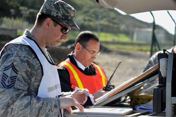 Senior Master Sgt. Brian Archuleta (left), 65th Civil Engineer Squadron fire department chief and Agostinho Simoes, fire department deputy chief set up a unified command center and plan their response following a simulated fuel spill during an exercise at the Lajes south tank farm, April 18, 2013, Praia da Vitoria, Azores. Lajes Field is the 2nd largest fuel store in the AF and the largest within USAFE. The 65th Air Base Wing regularly exercises scenarios testing Airmen's ability to respond to crises, work with local authorities or account for personnel. (Photo by Guido Melo/released)