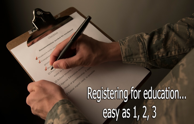 The first step to enrolling your children into school is contacting the school and preparing yourself. (U.S. Air Force graphic / Senior Airman Dennis Sloan)