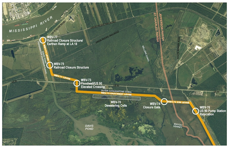 Map of the Western Tie-In project in Jefferson/St. Charles parishes