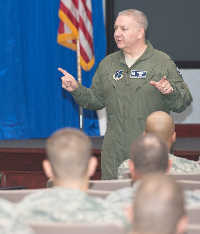 U.S. Air Force Col. Kevin Clotfelter, commander 116th Air Control Wing, speaks to Airmen from his wing about resiliency during a Wingman's Day at Robins Air Force Base, Ga., April 12, 2013.  The Georgia Air National Guard wing took the day to focus on the resiliency of their Airmen, offering them training and information about the resources available to the Guardsmen and their families.  (U.S. Air National Guard photo by Master Sgt. Roger Parsons/Released)