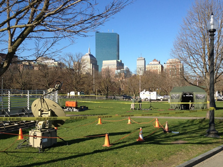 The 267th Combat Communications Squadron (267 CBCS), Massachusetts Air National Guard, stands up the Joint Incident Site Communications Capability (JISCC) facility at Boston Commons during the response efforts after the Boston Marathon Bombing, April 16. The JISCC provides local emergency responders with communications capabilities such as computers, web access and telephones. (U.S. Air National Guard photo by 1st Lt. Christopher Qubeck)