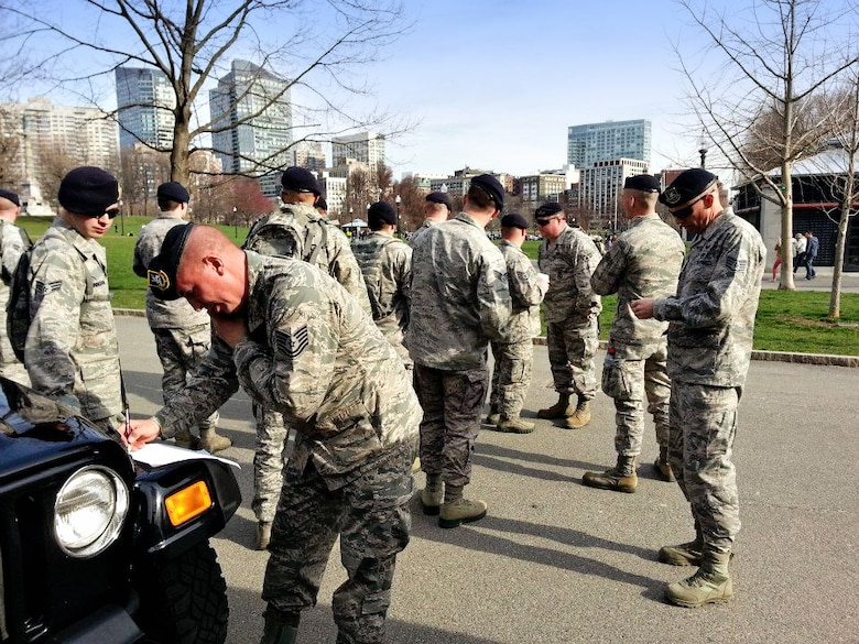The 18-man team of 102nd Security Forces Airmen, who reported for their detail for the Boston Marathon at 5 a.m. on April 15, found themselves in the midst of an emergency response effort later that afternoon after two bombs were detonated near the finish line of the marathon, where three lives were lost and more than 180 injured. They didn't get home until 5 a.m. the next morning. (U.S. Air National Guard photo by Senior Airman Adam Souza)