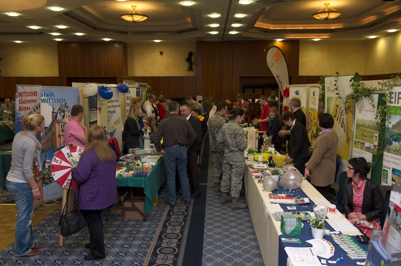 SPANGDAHLEM AIR BASE, Germany -- Spangdahlem Airmen and community members attend the ninth annual Explore the Eifel information fair April 19, 2013. More than 60 vendors attended the event to show community members what activities and products the Eifel region has to offer. (U.S. Air Force photo by Senior Airman Natasha Stannard/Released)