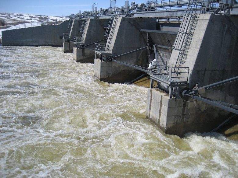 Releases from Lake Darling Dam on the Souris River in North Dakota on April 18, 2013.  Approximately 2,600 cubic feet per second.