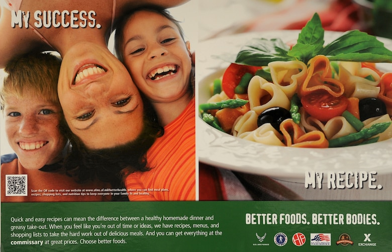 """Langley Air Force Base, Va was recently seleced as a pilot base for the """"Better Foods, Better Bodies"""" campaign. This campaign is designed to help Airmen and their families make healthy dietary decisions. (U.S. Air Force photo by Senior Airman Brittany Paerschke-O'Brien/Released)"""