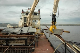 The Raccoon, a U.S. Army Corps of Engineers San Francisco District debris-removal vessel based in Sausalito, Calif., is using for the first time a new biofuel called B99. B99 is based on soybeans.