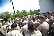 Company B, 2nd Reconnaissance Battalion Marines are debriefed after completing live-fire training at Marine Corps Base Camp Lejeune, N.C., April 19, 2013.  More than 120 Marines completed the two-week training, which included close-quarters tactics and flash bang procedures. (Marine Corps photo by Sgt. Austin Hazard/Released)