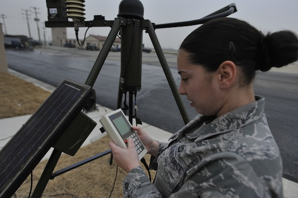 Staff Sgt. Stephanie Clark, 51st Operations Support Squadron weather forecaster, reads data from a tactical weather system monitor at Osan Air Base, Republic of Korea, April 23. The tactical weather system records data such as precipitation possibility, visibility levels, wind speed, and lightning detection just like weather sensors in the airfield would. Weather forecasters at Osan are responsible for providing timely and accurate weather information in support of all the 51st Fighter Wing's flying operations. (U.S. Air Force photo by Senior Airman Siuta B. Ika)