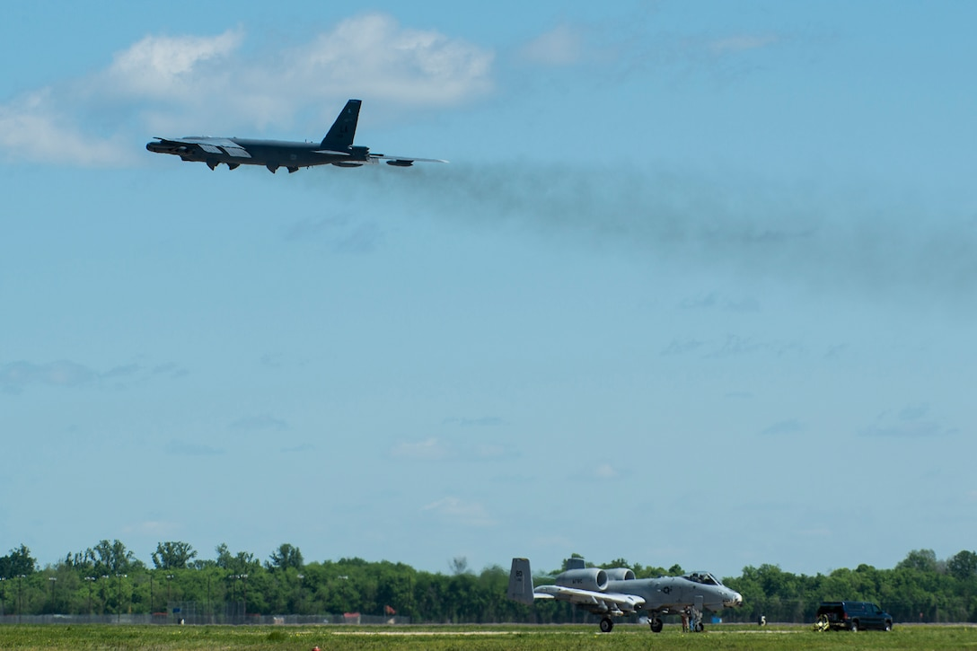 A 2nd Bomb Wing B-52H Stratofortress takes off from Barksdale Air Force Base, La., for Minot AFB, N.D., to participate in a nuclear exercise, April 19, 2013. The B-52 is piloted by an Air Force Reserve aircrew assigned to the 343rd Bomb Squadron at Barksdale. (U.S. Air Force photo by Master Sgt. Greg Steele/Released)