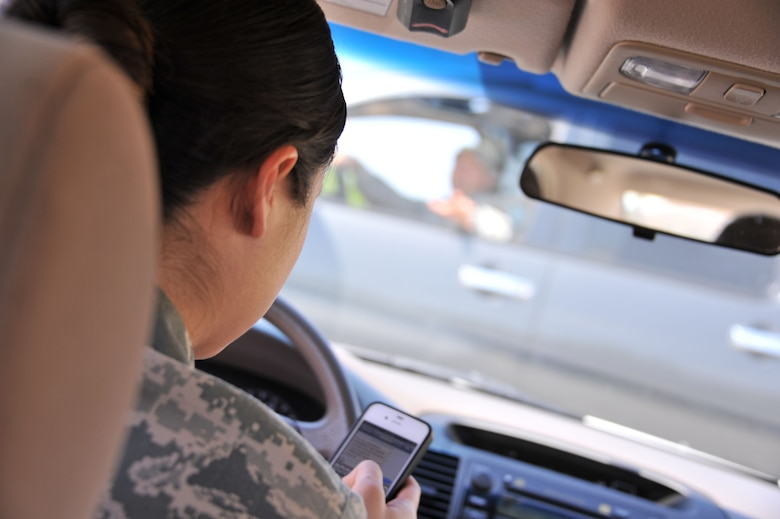 According to the national highway traffic safety administration, sending or receiving a text takes a driver's eyes from the road for an average of 4.6 seconds, the equivalent-at 55 mph-of driving the length of an entire football field, blind. (U.S. Air Force illustration by Airman 1st Class William Blankenship)