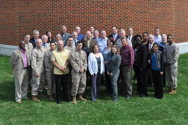 Attendees of the 2013 Marine Corps Foreign Disclosure Working Group pose for a group photo. Twenty-five commands were represented at this year's event, held April 16-18 at the Gray Research Center, Quantico, Va. MCSC hosted the annual gathering for foreign disclosure officers and personnel who work foreign disclosure issues.