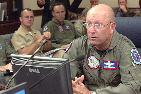 Gen. Gene Renuart, commander of North American Aerospace Defense Command and U.S. Northern Command, discusses the progress of several ongoing missions during the Aug. 20, 2007, commander's update briefing at NORAD and USNORTHCOM headquarters. This month, the two military commands have supported the space shuttle launch and landing, recovery efforts at the collapsed bridge in Minneapolis, rescue operations at Utah's Crandall Canyon mine, Russian bomber monitoring and Hurricane Dean response preparations. Photo by Sgt. 1st Class Gail Braymen