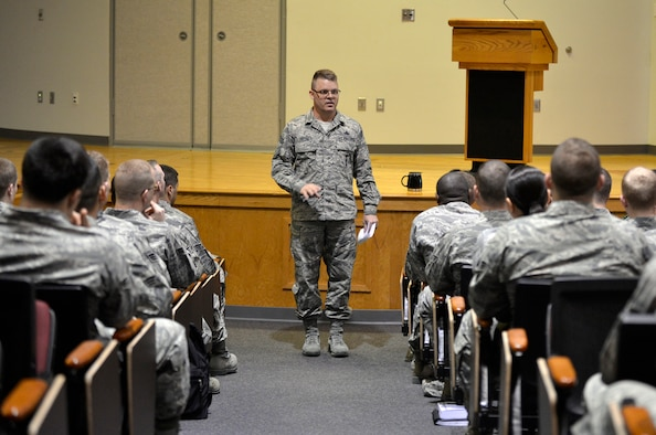 McGHEE TYSON AIR NATIONAL GUARD BASE, Tenn. - Chief Master Sgt. Donald E. Felch, commandant at the Paul H. Lankford Enlisted Professional Military Education Center here, shares leadership ideas during Commandant Hour with students attending Airman Leadership School April 23, 2013. Felch addressed specific ideas on how to lead at thier units. (U.S. Air National Guard photo by Master Sgt. Kurt Skoglund/Released)