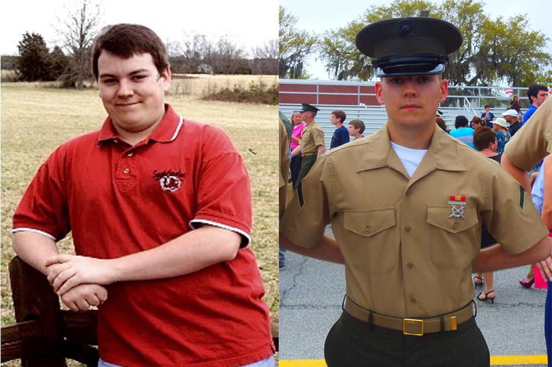 Marine Pfc. Christopher G. Reynolds, 19, graduated Marine Corps Recruit Training, aboard Marine Corps Recruit Depot, Parris Island, S.C., on April 12, 2013. Reynolds lost a total of 75 pounds in his journey to become a Marine. (Courtesy Photo)