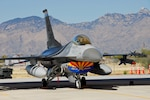An F-16 Fighting Falcon sits ready to deploy at a moment's notice at the 162nd Fighter Wing's Alert Detachment at Davis-Monthan Air Force Base, Ariz. Arizona Air National Guardsmen from Tucson will fly this aircraft and others to secure the airspace over Super Bowl XLII. (U.S. Air Force photo/Master Sgt. David Neve)