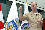 Chairman of the Joint Chiefs of Staff Adm. Mike Mullen speaks to the staff of North American Aerospace Defense Command and U.S. Northern Command during a visit to command headquarters at Peterson Air Force Base, Colo., on March 10, 2008. It was Mullen's first visit to the commands since he was sworn in as chairman in October 2007. Photo by Petty Officer 1st Class John Mason