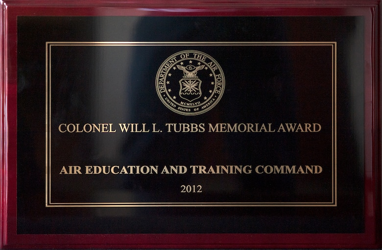 Colonel Will L. Tubbs Memorial Award for ground safety for fiscal 2012 (Photo by Tech. Sgt. Samuel Bendet)
