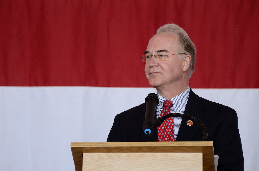 The Honorable (GA-R) Tom Price, Georgia's 6th district Congressman speaks to the students and parents attending the 2013 Georgia Congressional Delegation Academy Day held at Dobbins Air Reserve Base, Ga., April 20. (U.S. Air Force photo/Don Peek)