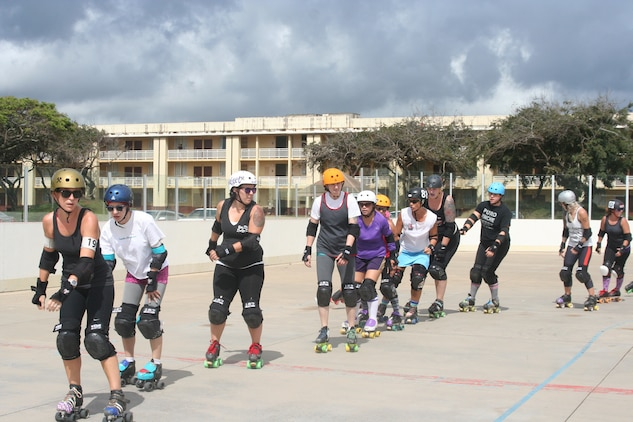 Skaters practice at the G Street hockey rink Thursday evenings and Sunday mornings. The Pacific Roller Derby was founded in 2008 and features approximately 50 women. (U.S. Marine Corps photo by Carolyn Lee)