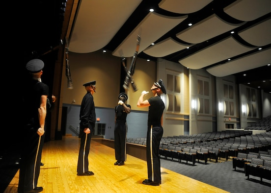 Members of the U.S. Air Force Honor Guard practice before an upcoming performance at Indian River High School in Virginia Beach, Va. April 19, 2013. The team performed in conjunction with a POW recognition ceremony given by the school's AFJROTC unit. (U.S. Air Force photo/Senior Airman Lindsey A. Porter)