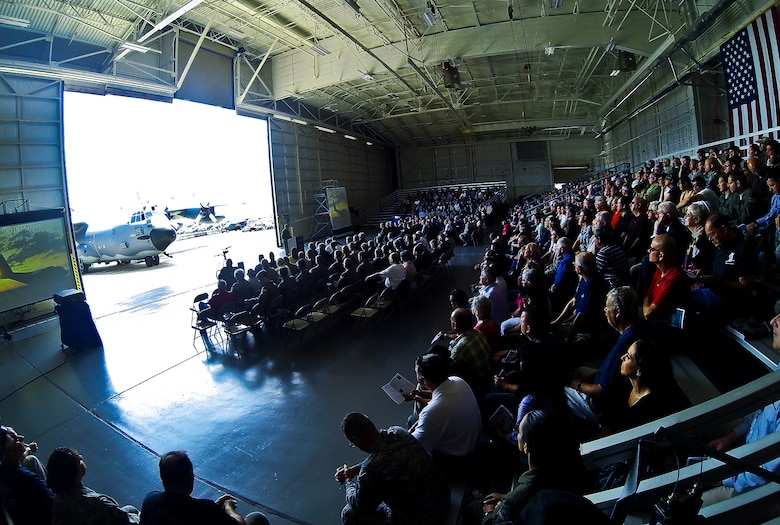 """It was standing-room-only during the MC-130E Combat Talon I retirement ceremony at Duke Field Fla., April 25.  Aircrew, maintainers and many others turned out to remember and bid farewell to the Talon I on its official retirement from the Air Force.  The last five Talons, located at Duke Field, will be delivered to the """"boneyard"""" at Davis-Monthan Air Force Base, N.M., by mid-May 2013.  (U.S. Air Force photo/Tech. Sgt. Samuel King Jr.)"""