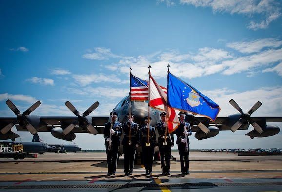 "The Eglin Honor Guard presents the colors in the shadow of an MC-130E Combat Talon I during its retirement ceremony at Duke Field, Fla., April 25.  Aircrew, maintainers and many others turned out to remember and bid farewell to the Talon I on its official retirement from the Air Force.  The last five Talons, located at Duke Field, will be delivered to the ""boneyard"" at Davis-Monthan Air Force Base, N.M., by mid-May 2013.  (U.S. Air Force photo/Tech. Sgt. Samuel King Jr.)"