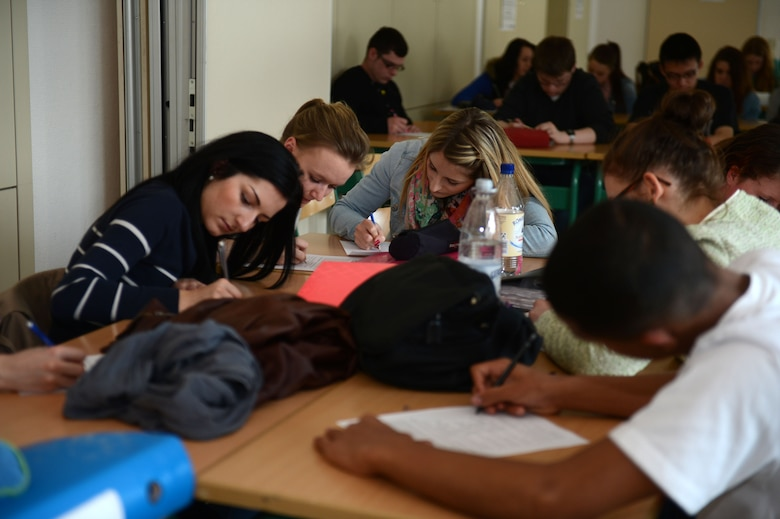 BITBURG, Germany – American and German high school students study English together during a school exchange program April 22, 2013. Along with mixing cultures, the program allowed the students to build friendships. (U.S. Air Force photo by Airman 1st Class Gustavo Castillo/Released)