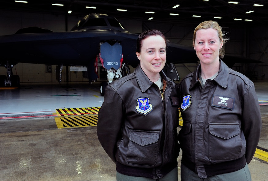 Captains Jennie Swiechowicz and Nicola Polidor, both 393rd Bomb Squadron B-2 Spirit pilots, are part of an elite group at Whiteman Air Force Base, Mo., April 23, 2013. Sweichowicz and Polidor both dreamed of flying while growing up. (U.S, Air Force photo by Airman 1st Class Shelby R. Orozco/Released)