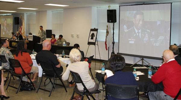 Army Lt. Gen. Thomas Bostick relates the nation's need for STEM professionals in the years to come through a video shown as part of a presentation given by Army Col. Mark Toy, commander of the Los Angeles District.  Toy presented an overview of the district's STEM outreach initiatives during a STEM panel discussion led by the Army's Los Angeles Recruiting Battalion April 26.