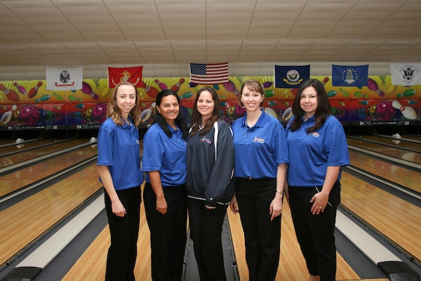 U.S. Air Force capture their third consecutive Armed Forces Team title at the 2013 Armed Forces Bowling Championship.  SSgt Natasha Sanchezr, McChord AFB, WA wins the silver with Capt Danielle Crowder, Aviano, Italy taking bronze