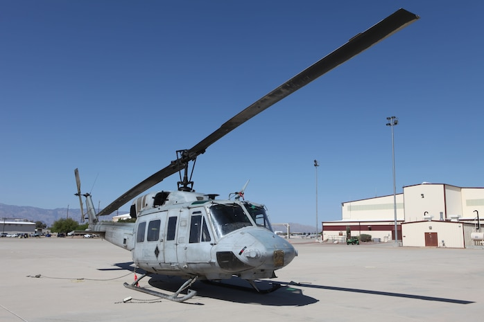 On April 24, a pair of UH-1N Huey's with Marine Light Attack Helicopter Squadron 467, based out of Cherry Point, N.C., were inducted into the 309th Aerospace Maintenance And Regeneration Group, an aircraft gravesite appropriately known as the Boneyard in Tuscon, Ariz. (Courtesy Photo by Terry Pittman)