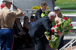 Scott Dewar, Australian Consul-General to the U.S., and Mike Moore, New Zealand Ambassador to the U.S., lay their respective wreathes during the ANZAC Day ceremony here April 25. Every year, the Australian Consulate and New Zealand Embassy join with U.S. Marine Corps Forces, Pacific, to host a commemoration ceremony.