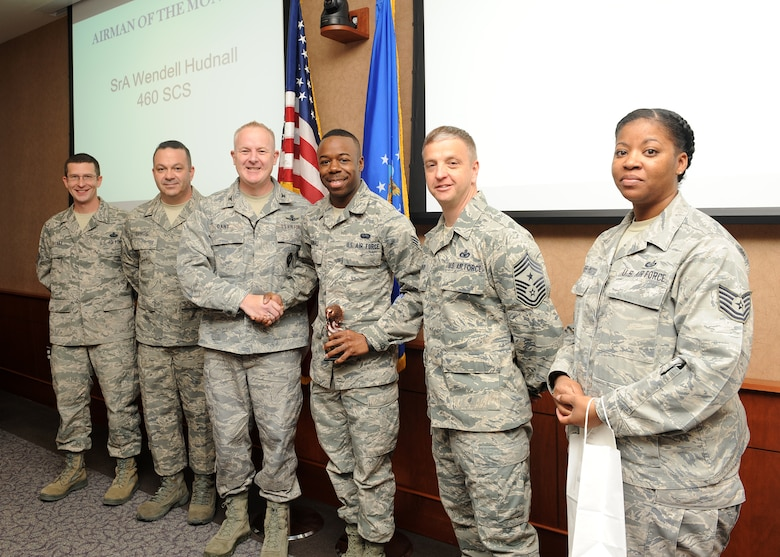 Senior Airman Wendell Hudnall, 460th Space Communications Squadron system control technician, is the 460th Space Wing's Airman of the Month. Hudnall distinguished himself by receiving education training and certification, which increased the number of technicians able to monitor a $5.6 million dollar phone system. He also volunteered his time to repair 70 bicycles at an elementary school, and he completed upgrades to communications crypto equipment, strengthening survivable mission data. The Airman of the Month program recognizes the top 460th SW monthly performer in the grades of E-1 to E-4. (U.S. Air Force photo by Senior Airman Marcy Glass/Released)